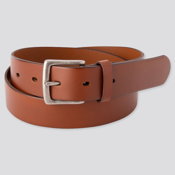 Men Italian Oiled Leather Belt, Brown, Large