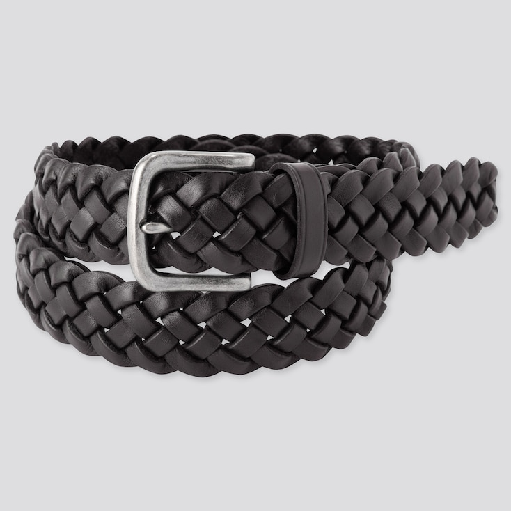Men Leather Wide Mesh Belt, Black, Large