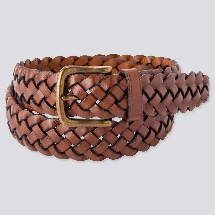 Men Leather Wide Mesh Belt,                             Brown, Large