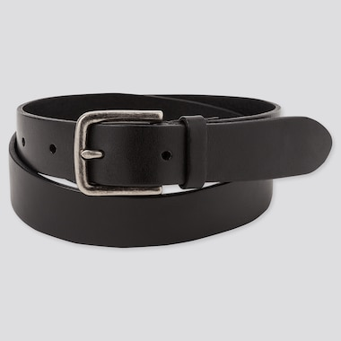 Men Italian Leather Vintage Narrow Belt, Black, Medium