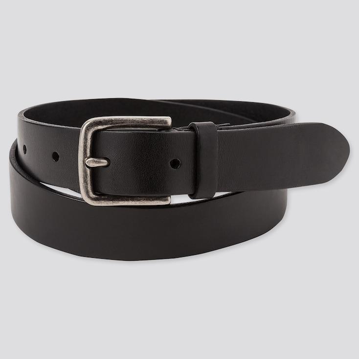 Men Italian Leather Vintage Narrow Belt, Black, Large