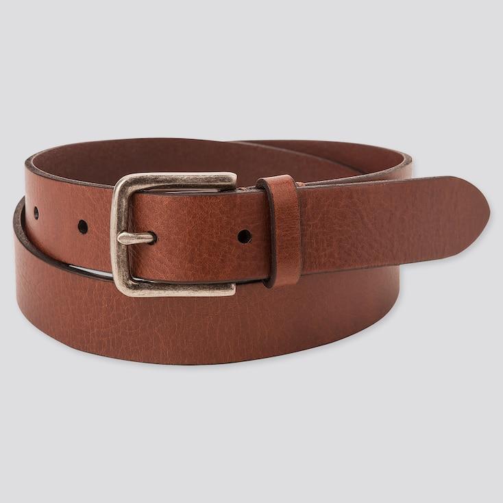 Men Italian Leather Vintage Narrow Belt, Brown, Large