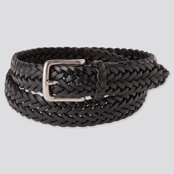 Men Leather Mesh Belt, Black, Large