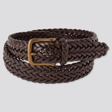 Men Leather Mesh Belt, Dark Brown, Medium