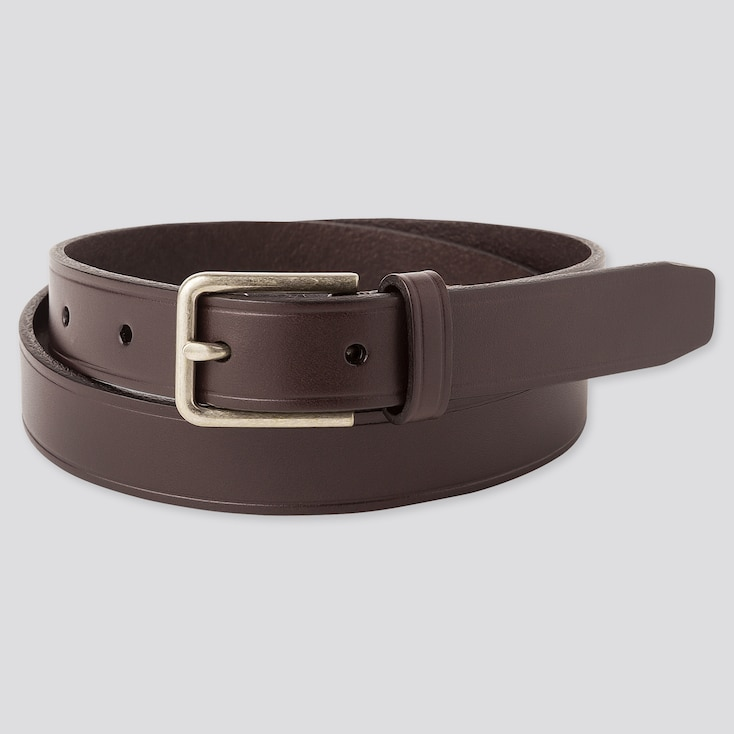 Men Italian Leather Narrow Belt, Dark Brown, Large