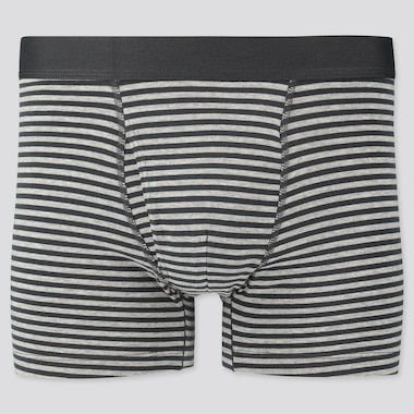 Men Supima® Cotton Striped Boxer Briefs, Gray, Medium