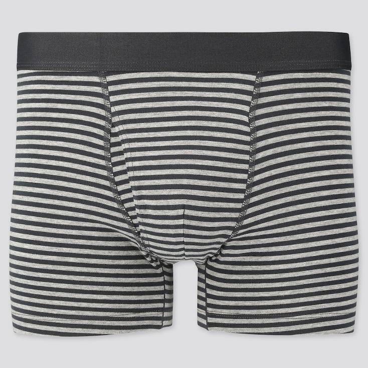 Men Supima Cotton Striped Boxer Briefs, Gray, Large