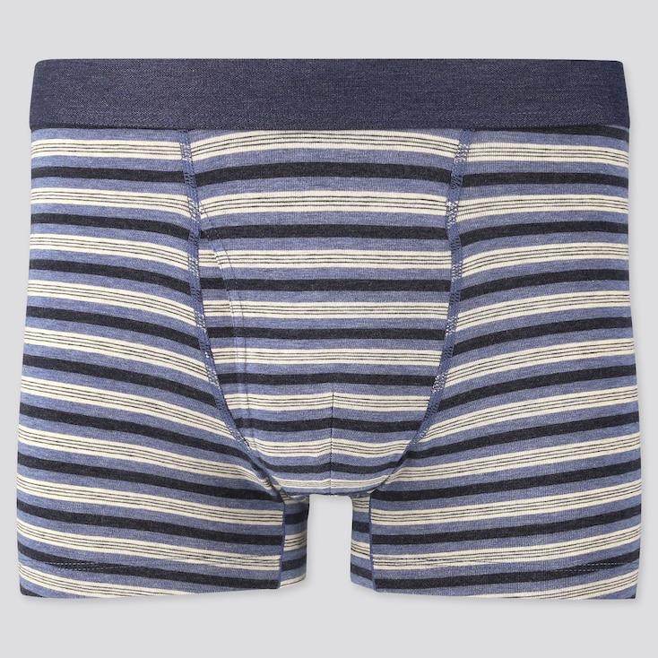 Men Supima Cotton Striped Boxer Briefs, Blue, Large