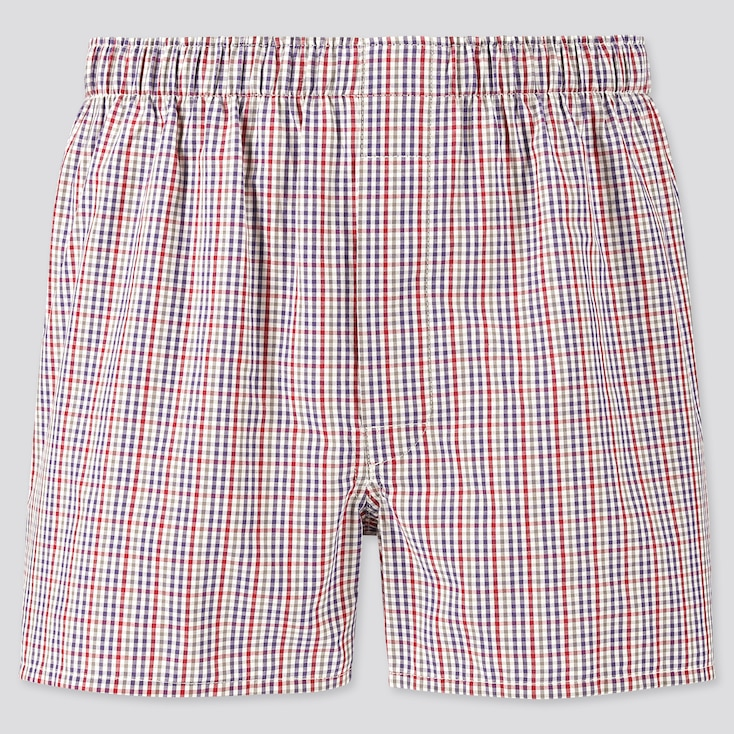 Men Woven Checked Boxers, Wine, Large