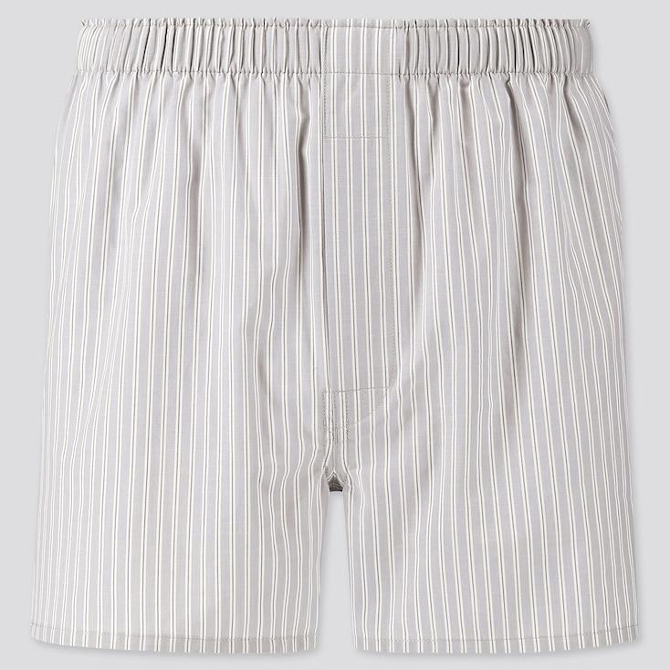 Men Woven Striped Boxers, Gray, Large