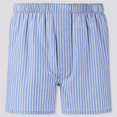 Men Woven Striped Boxers, Blue, Medium