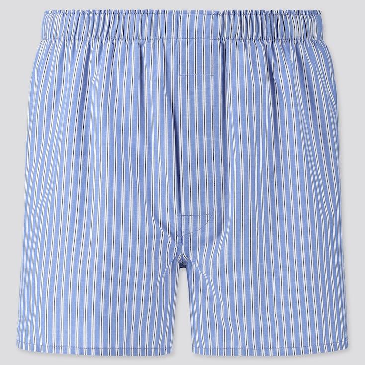 Men Woven Striped Boxers, Blue, Large