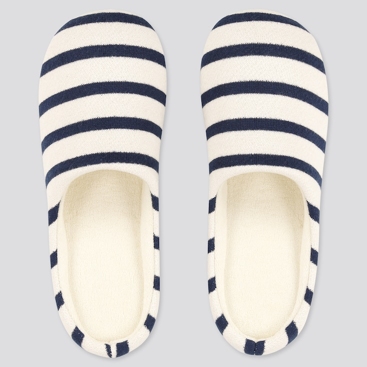 Striped Slippers, Natural, Large