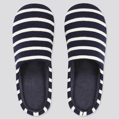 Striped Slippers, Navy, Medium