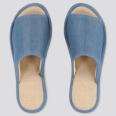 Chambray Slippers, Blue, Medium
