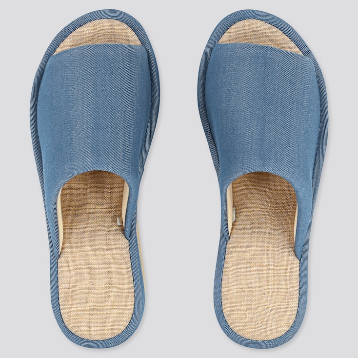 Chambray Slippers, Blue, Large