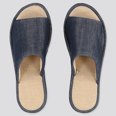 Chambray Slippers, Navy, Medium