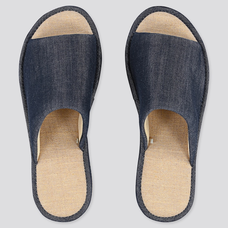 Chambray Slippers, Navy, Large