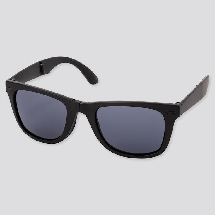 Wellington Folding Sunglasses, Dark Gray, Large