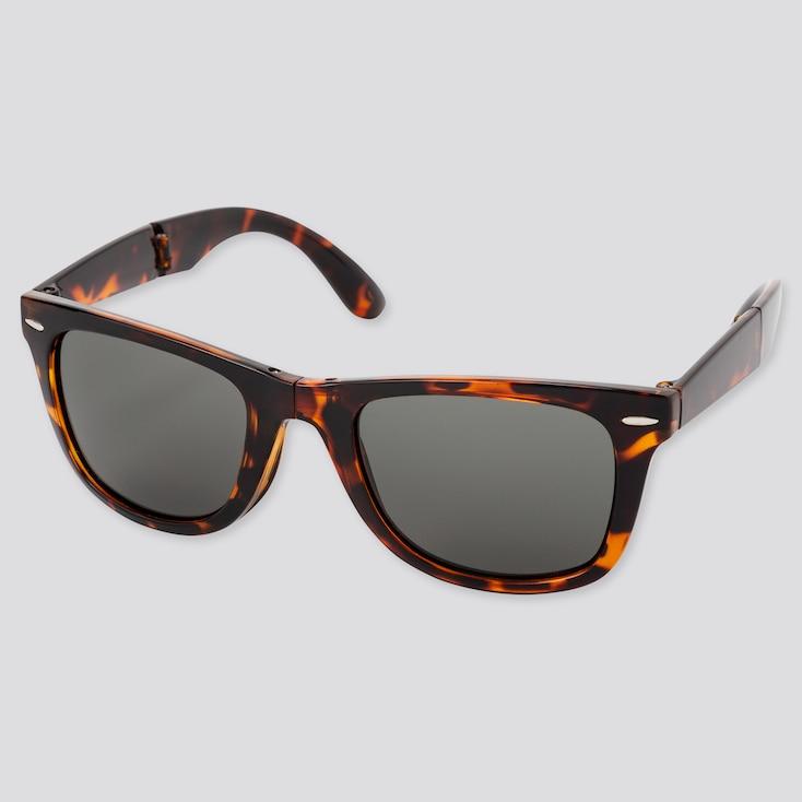 Wellington Folding Sunglasses, Brown, Large