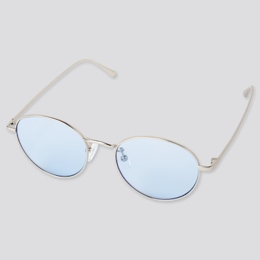 Round Metal Sunglasses, Light Blue, Medium
