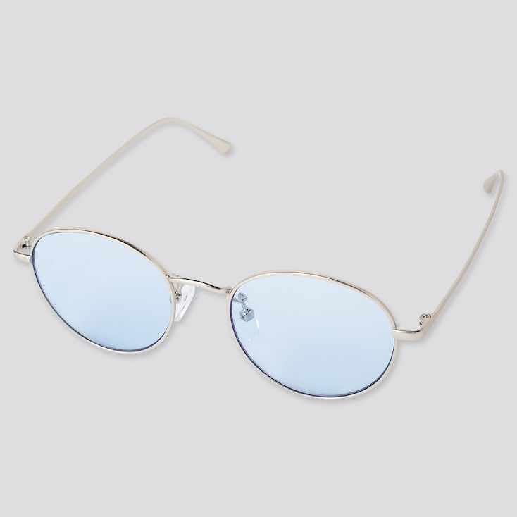 Round Metal Sunglasses, Light Blue, Large