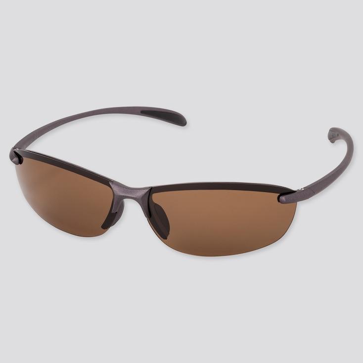 Sports Lightweight Half-Rim Sunglasses, Dark Brown, Large