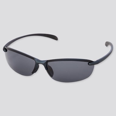 Sports Lightweight Half-Rim Sunglasses, Navy, Medium