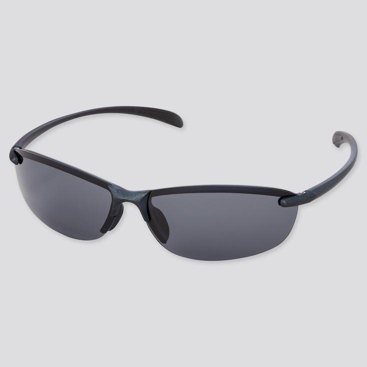 Sports Lightweight Half-Rim Sunglasses, Navy, Large