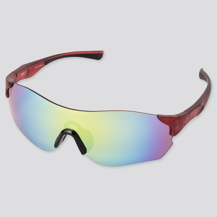 Sports Rimless Sunglasses, Red, Large