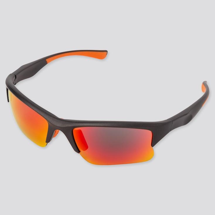 Sports Half-Rim Sunglasses, Gray, Large