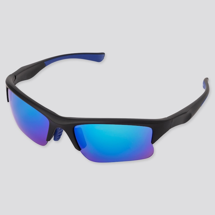 Sports Half-Rim Sunglasses, Dark Gray, Large