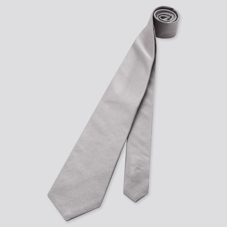 Men Silk Tie, Gray, Large