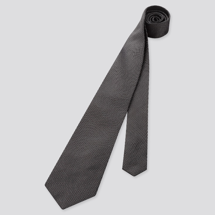 Men Silk Tie, Dark Gray, Large
