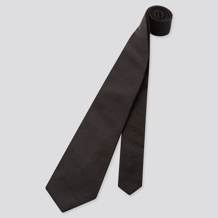 Men Silk Tie, Black, Large