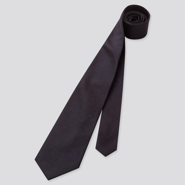 Men Silk Tie, Navy, Large
