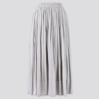 WOMEN GATHERED LONG SKIRT, LIGHT GRAY, medium