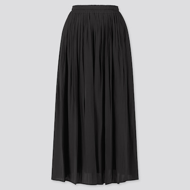 WOMEN GATHERED LONG SKIRT, BLACK, medium