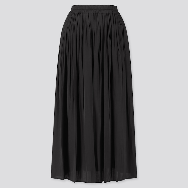 WOMEN GATHERED LONG SKIRT, BLACK, large