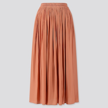 WOMEN GATHERED LONG SKIRT, PINK, medium