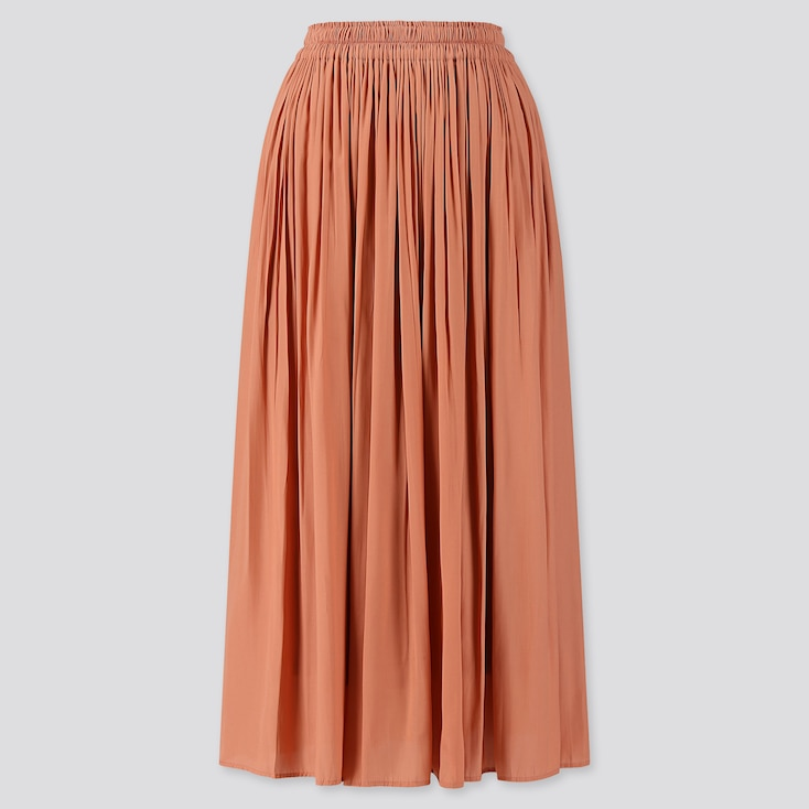WOMEN GATHERED LONG SKIRT, PINK, large
