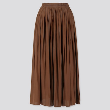 WOMEN GATHERED LONG SKIRT, BROWN, medium