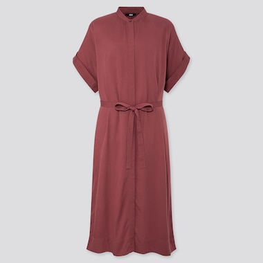 WOMEN RAYON SHORT SLEEVED SHIRT DRESS