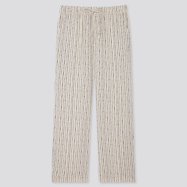Women Drape Straight Pants, Off White, Medium
