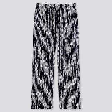 Women Drape Straight Pants, Navy, Medium