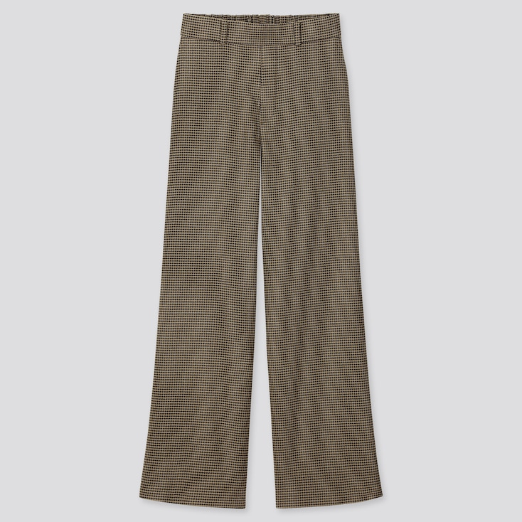 WOMEN WIDE STRAIGHT PANTS (BRUSHED), BROWN, large