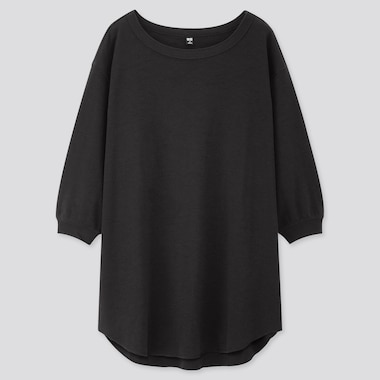 Women Honeycomb Boat Neck 3/4 Sleeve Tunic, Black, Medium