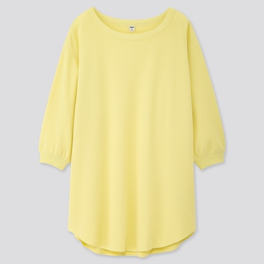 Women Honeycomb Boat Neck 3/4 Sleeve Tunic, Yellow, Medium