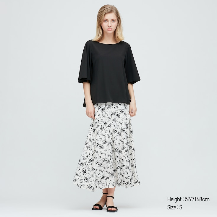 Women Crepe Jersey Half-Sleeve T-Shirt, Black, Large
