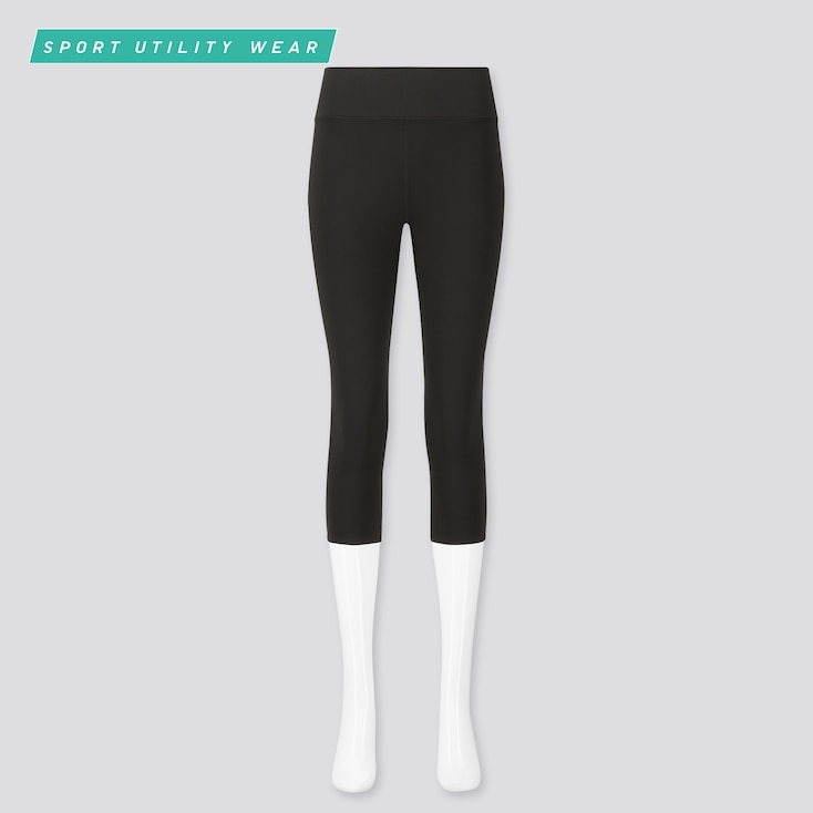 Women Airism Uv Protection Soft Cropped Leggings, Black, Large